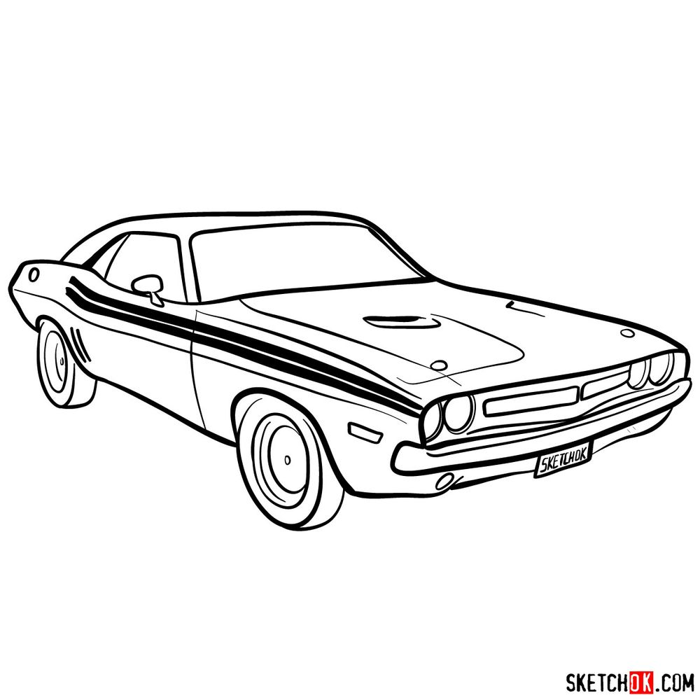 How to draw Dodge Challenger 1971