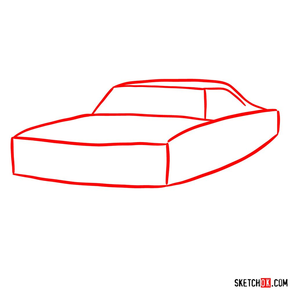 How to draw 1970 Dodge Coronet RT-01 - step 01