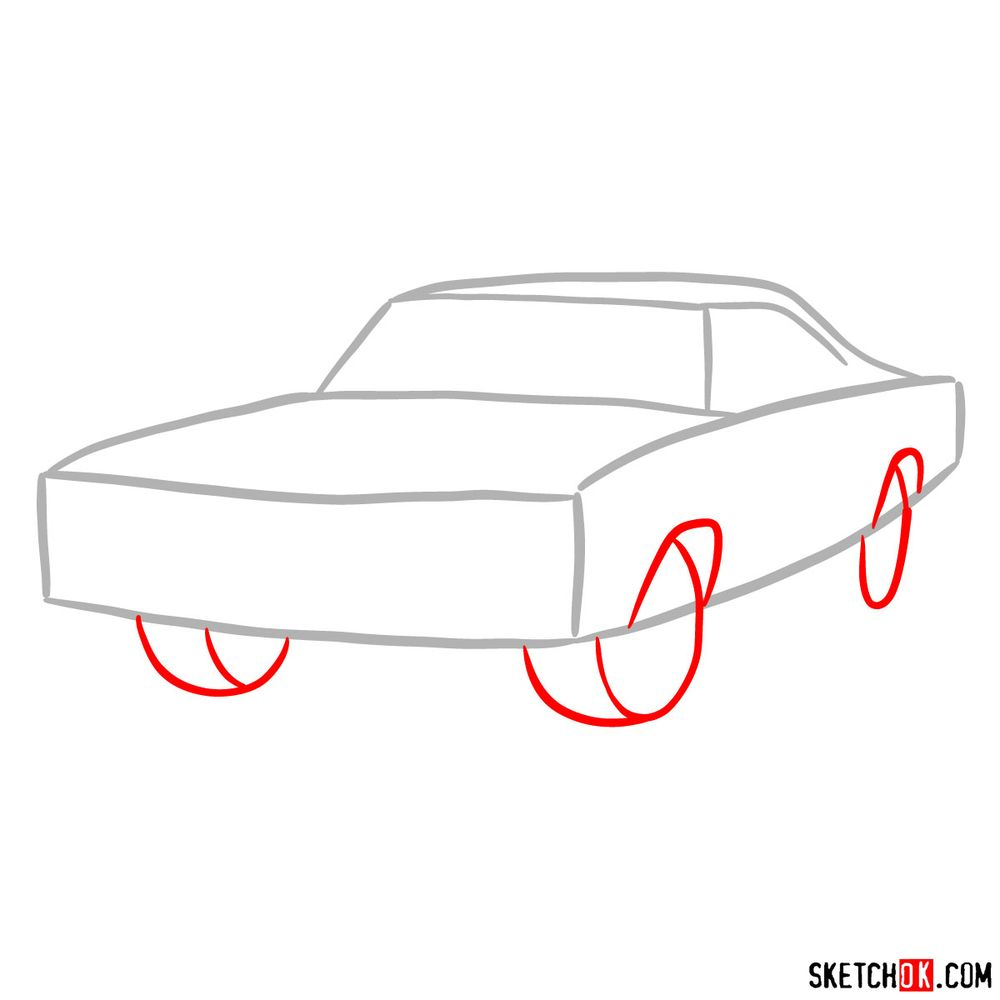 How to draw 1970 Dodge Coronet RT-01 - step 02