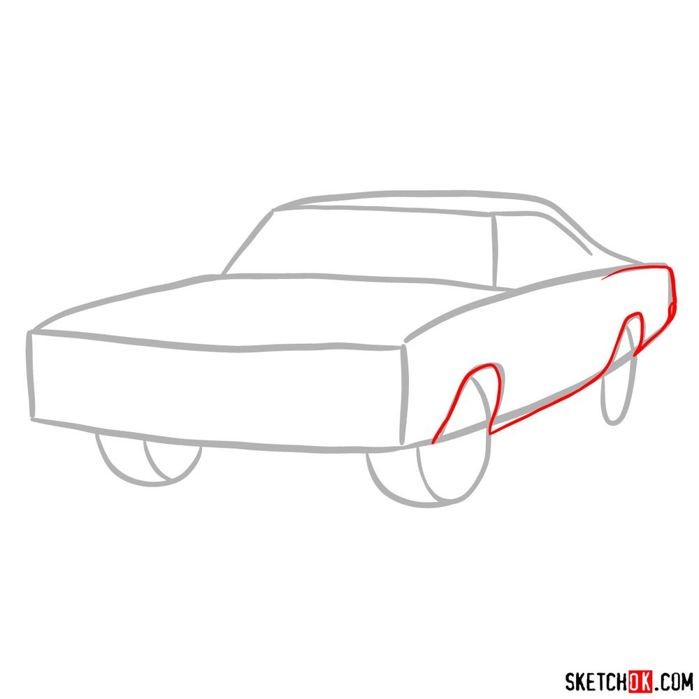 How to draw 1970 Dodge Coronet RT-01 - step 03