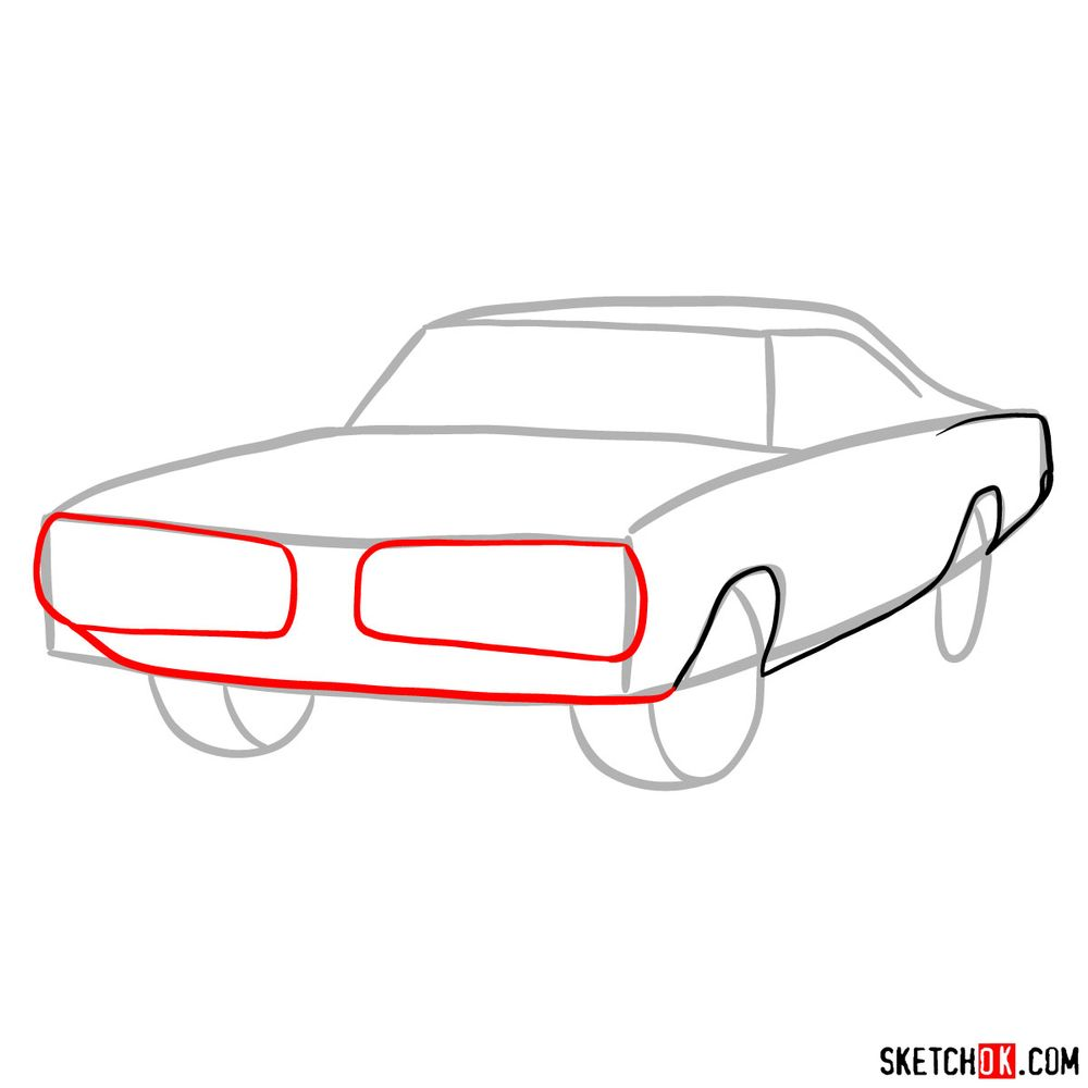 How to draw 1970 Dodge Coronet RT-01 - step 04