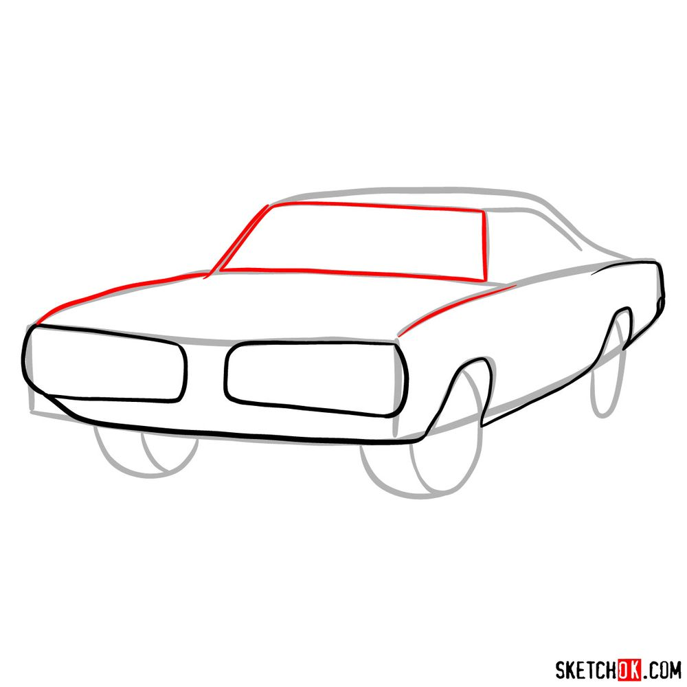 How to draw 1970 Dodge Coronet RT-01 - step 05