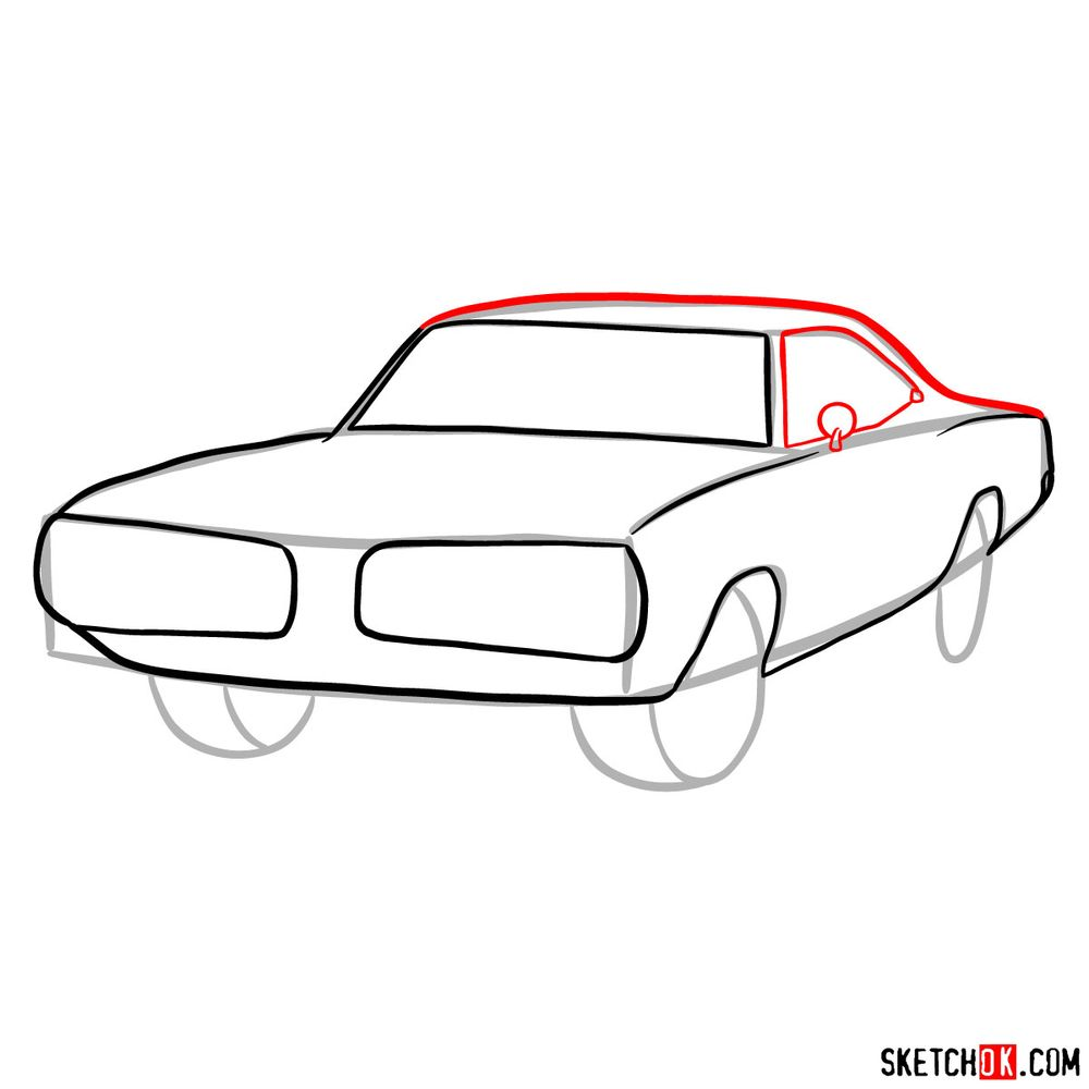 How to draw 1970 Dodge Coronet RT-01 - step 06