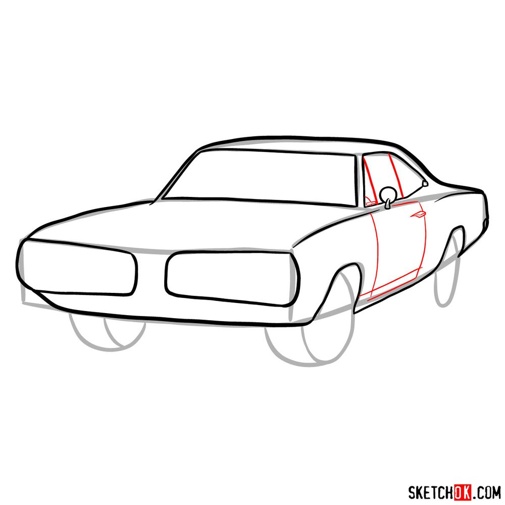 How to draw 1970 Dodge Coronet RT-01 - step 07