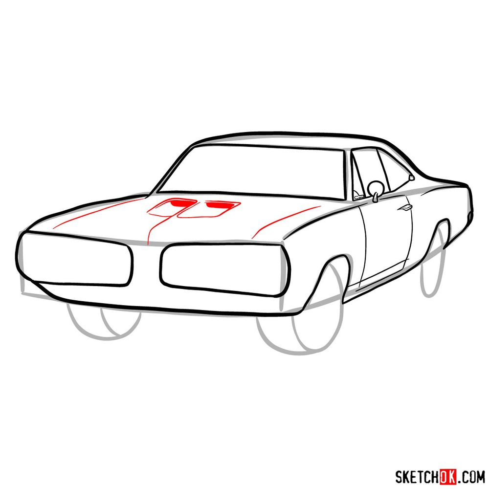 How to draw 1970 Dodge Coronet RT-01 - step 08