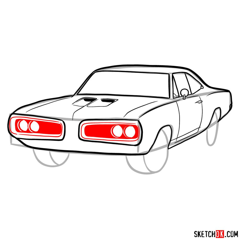 How to draw 1970 Dodge Coronet RT-01 - step 09