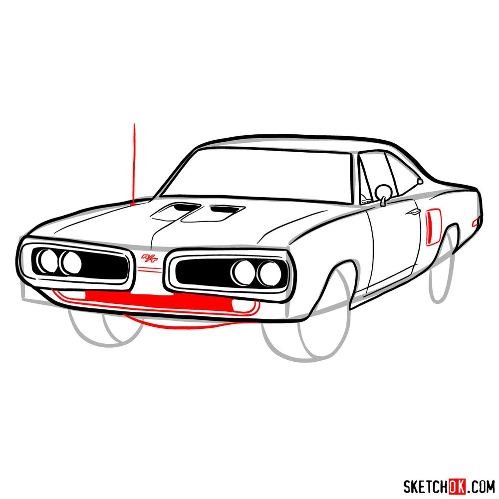 How to draw 1970 Dodge Coronet RT-01 - step 10
