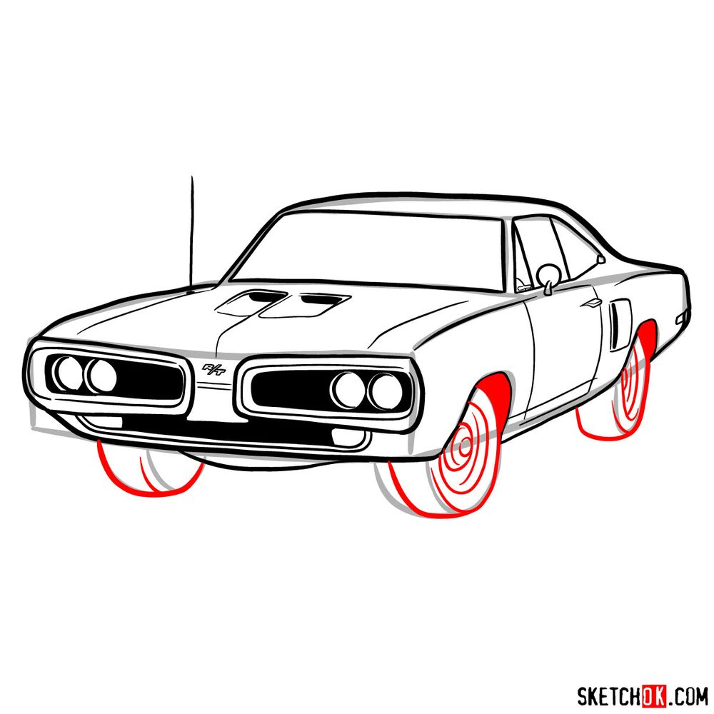 How to draw 1970 Dodge Coronet RT-01 - step 11
