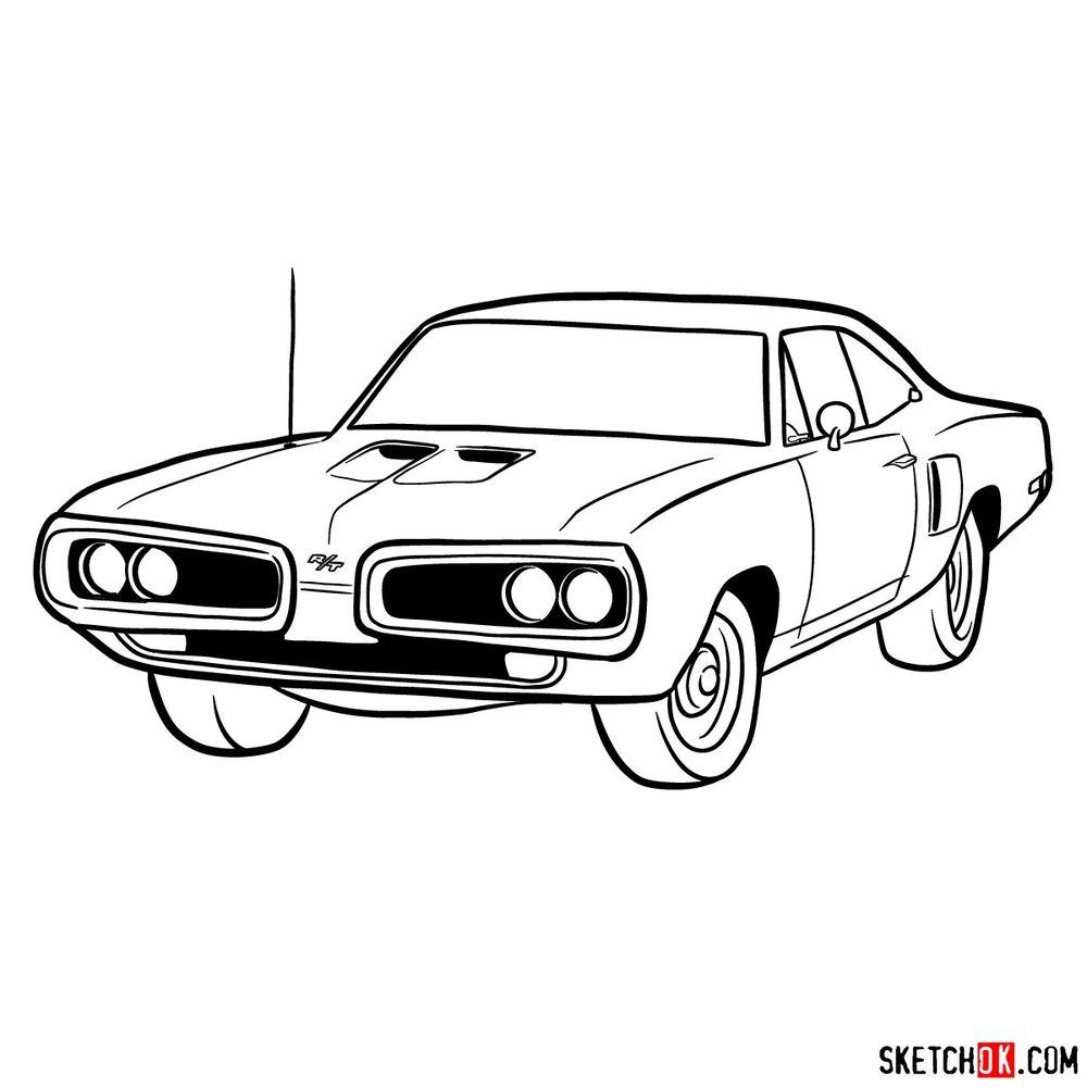 How to draw 1970 Dodge Coronet RT-01