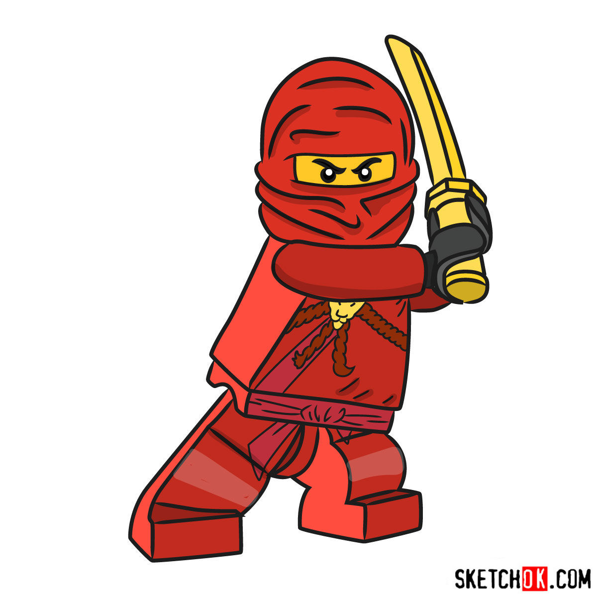 How To Draw Kai Ninjago Step By Step Drawing Tutorials
