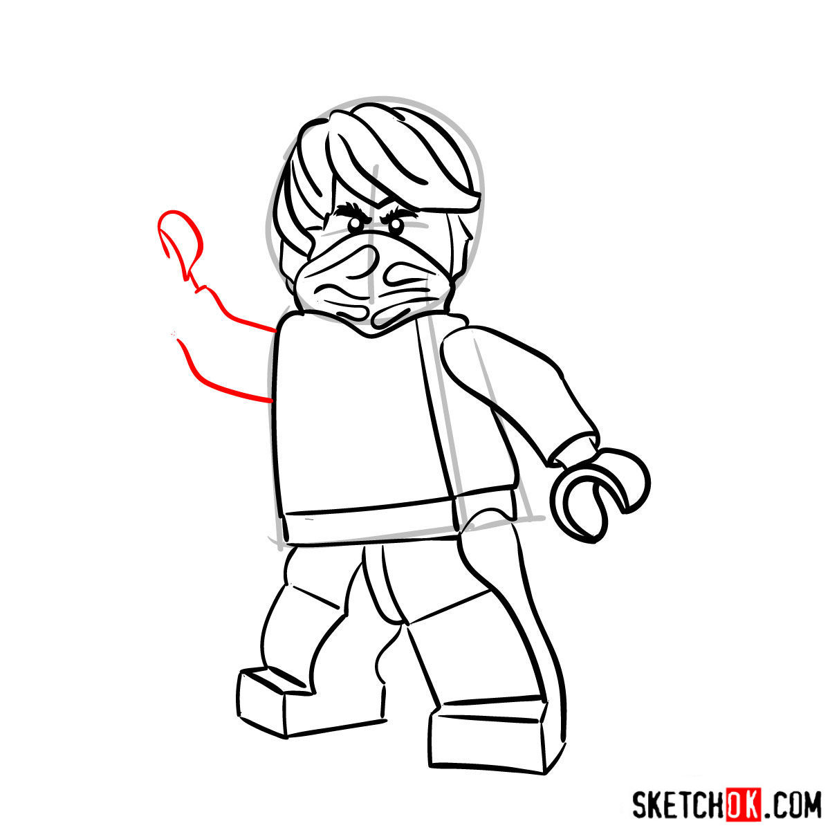 How to draw Cole Ninjago - step 09
