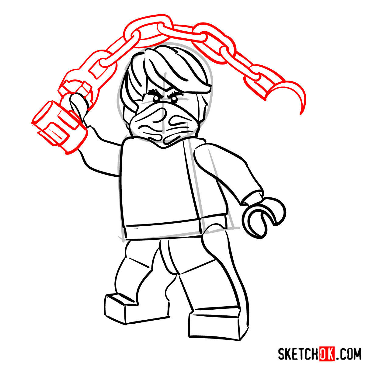 How to draw Cole Ninjago - step 10