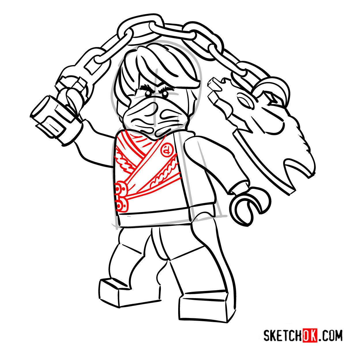 How to draw Cole Ninjago - step 12