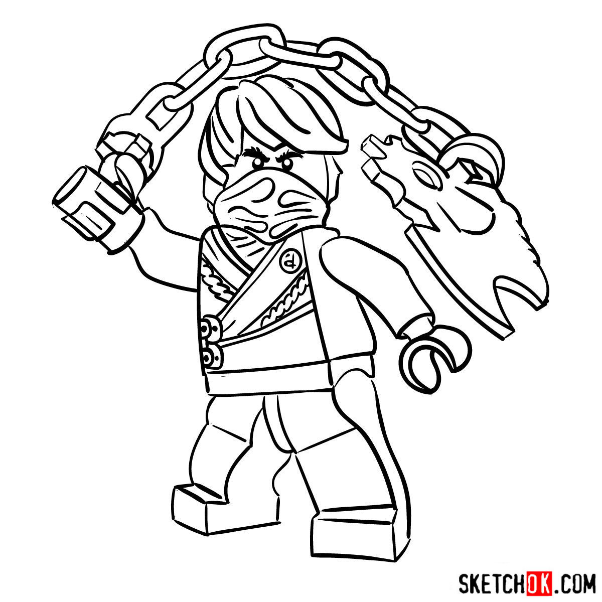 How to draw Cole Ninjago - step 13