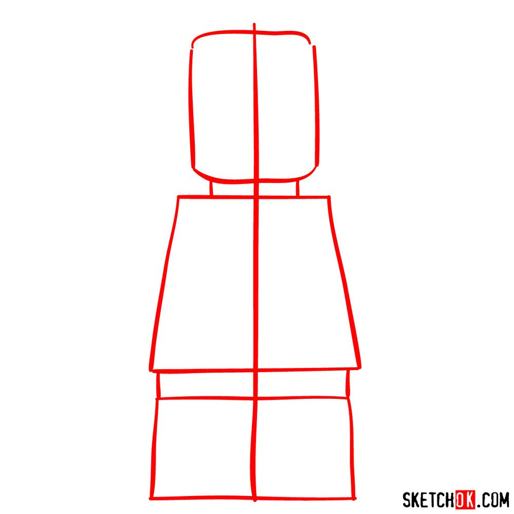 How to draw Wonder Woman LEGO minifigure - step 01