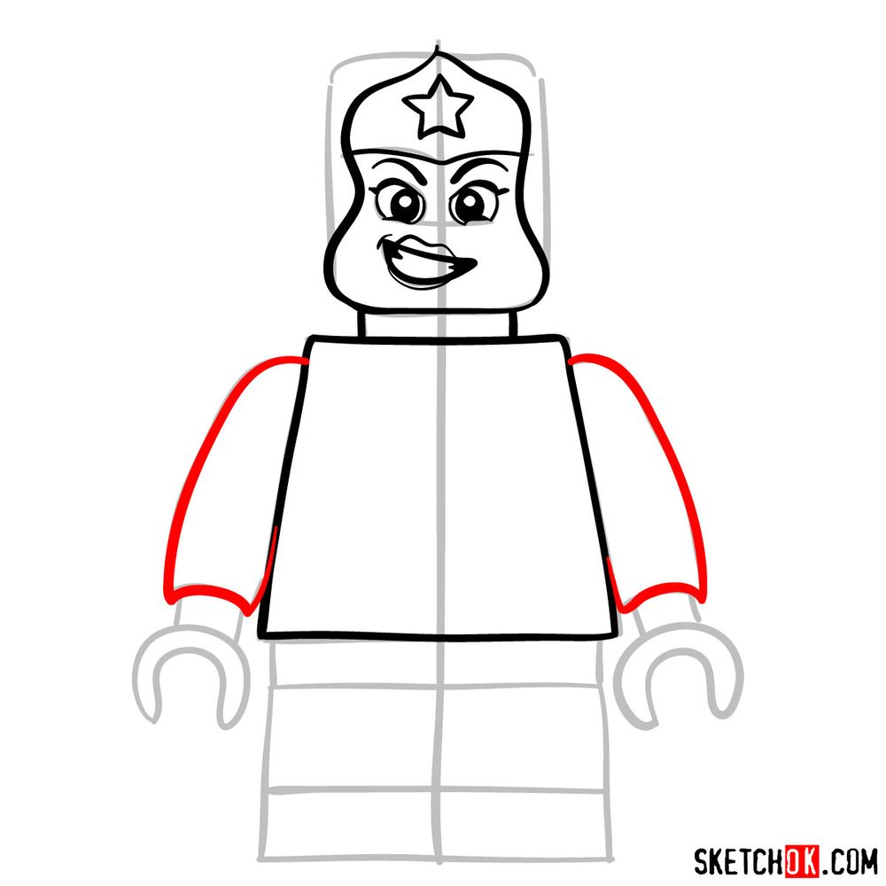 How to draw Wonder Woman LEGO minifigure - step 06