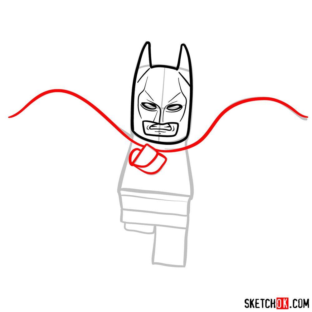 How to draw Batman LEGO minifigure - step 06