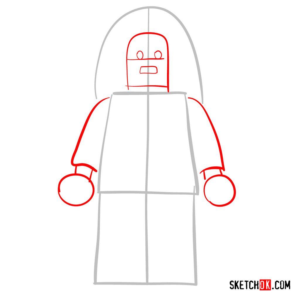 How to draw Aquaman LEGO minifigure - step 02