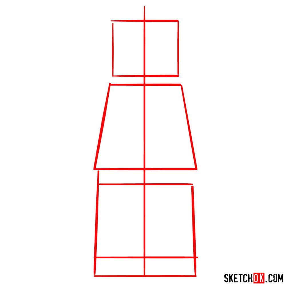 How to draw Lex Luthor LEGO minifigure - step 01