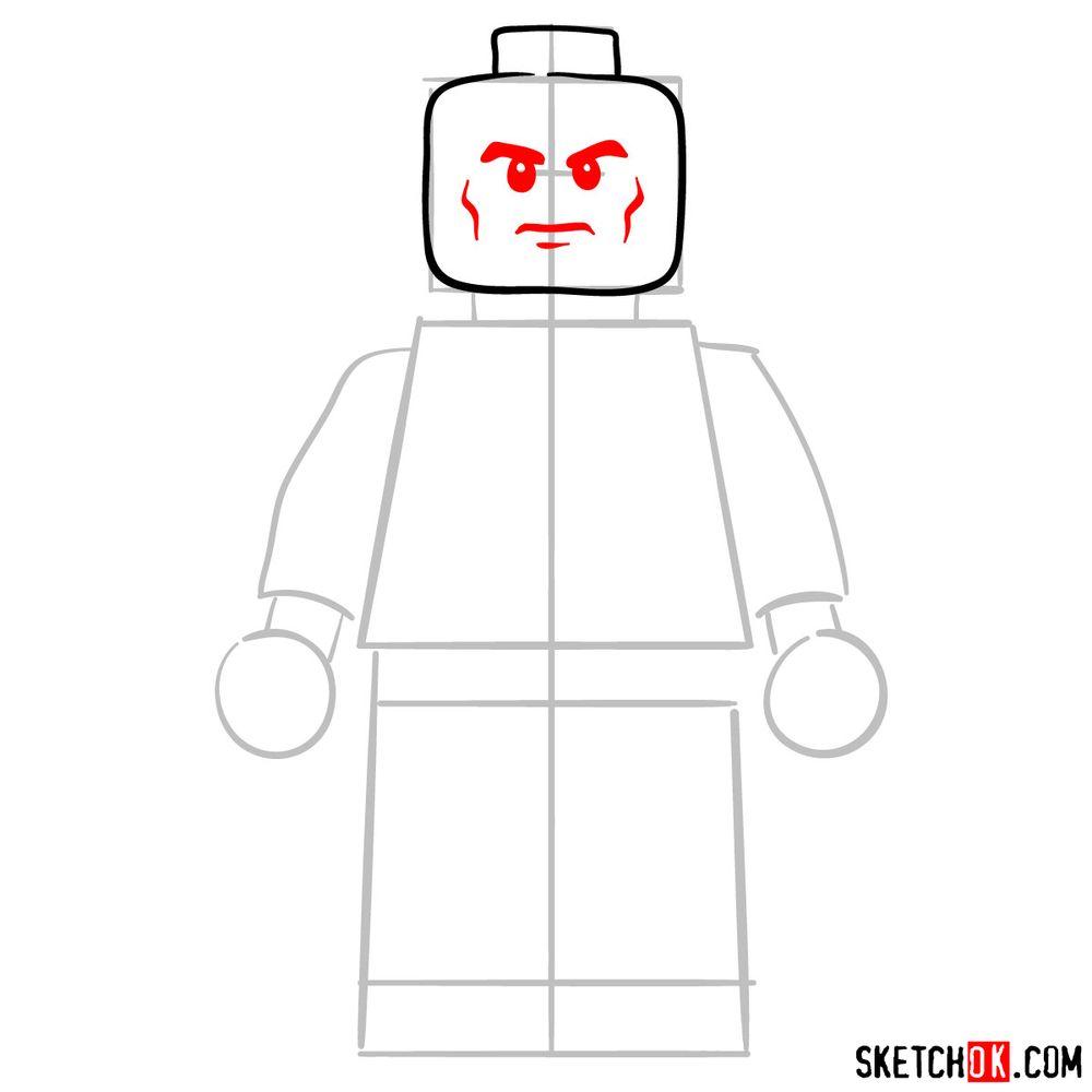 How to draw Lex Luthor LEGO minifigure - step 04