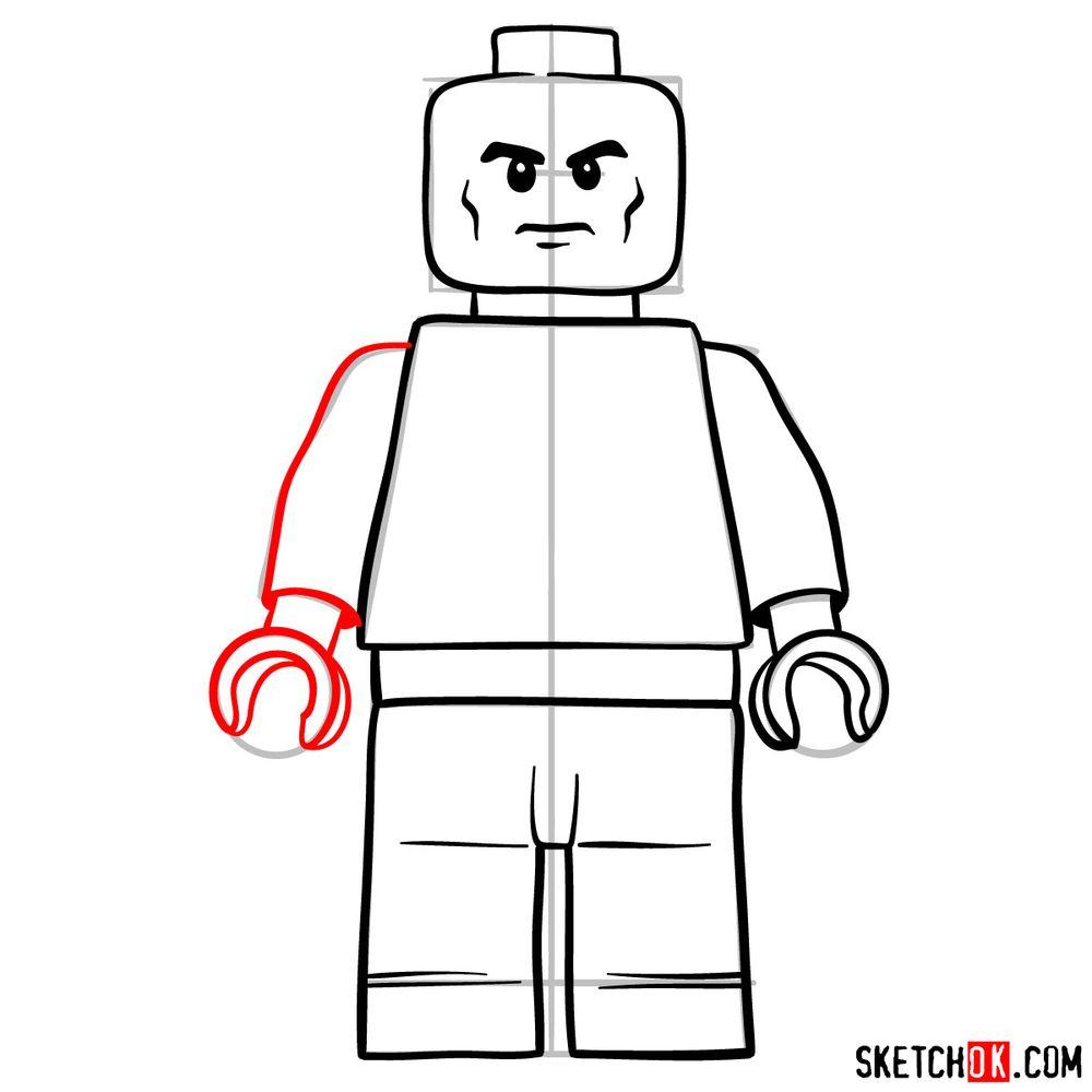 How to draw Lex Luthor LEGO minifigure - step 08