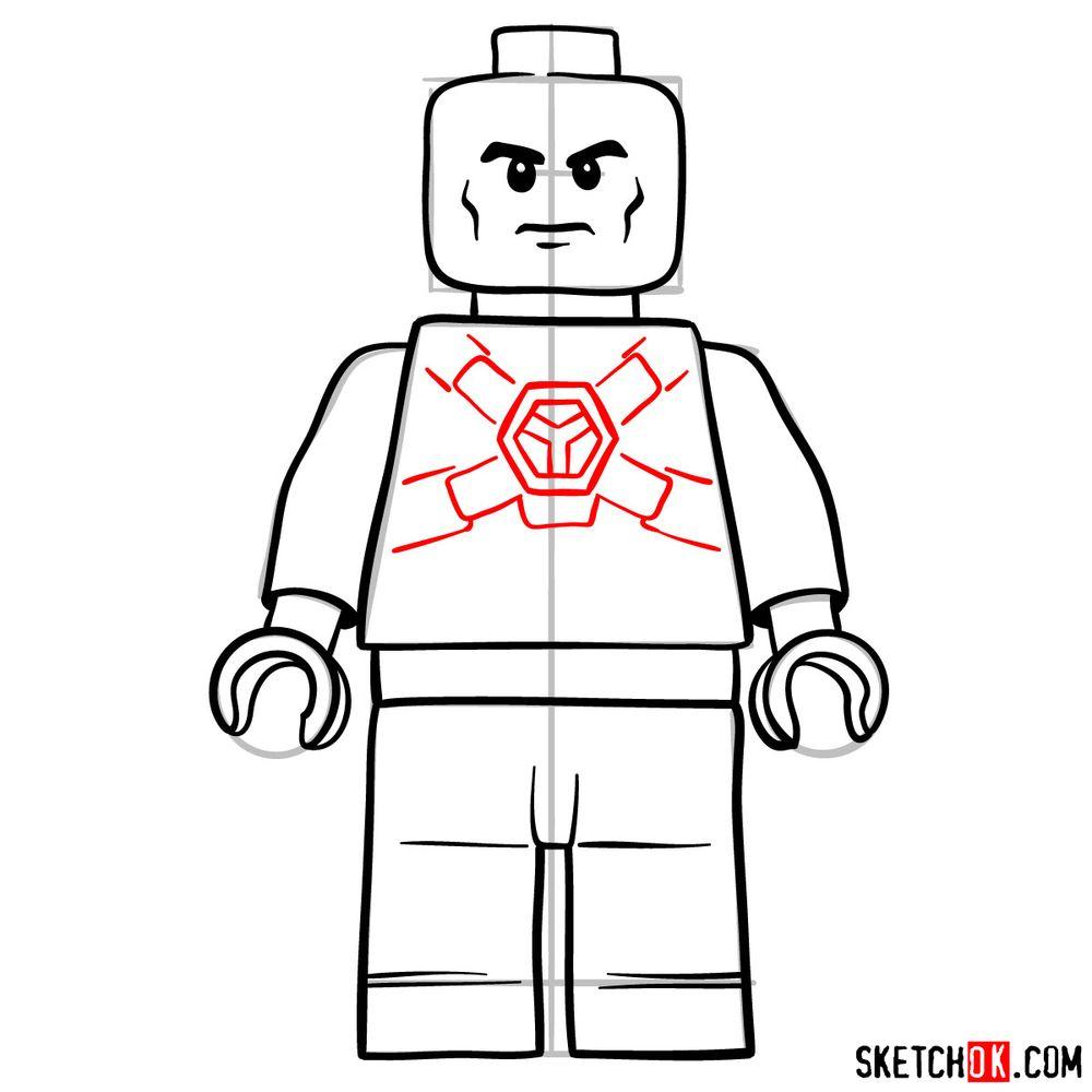 How to draw Lex Luthor LEGO minifigure - step 09