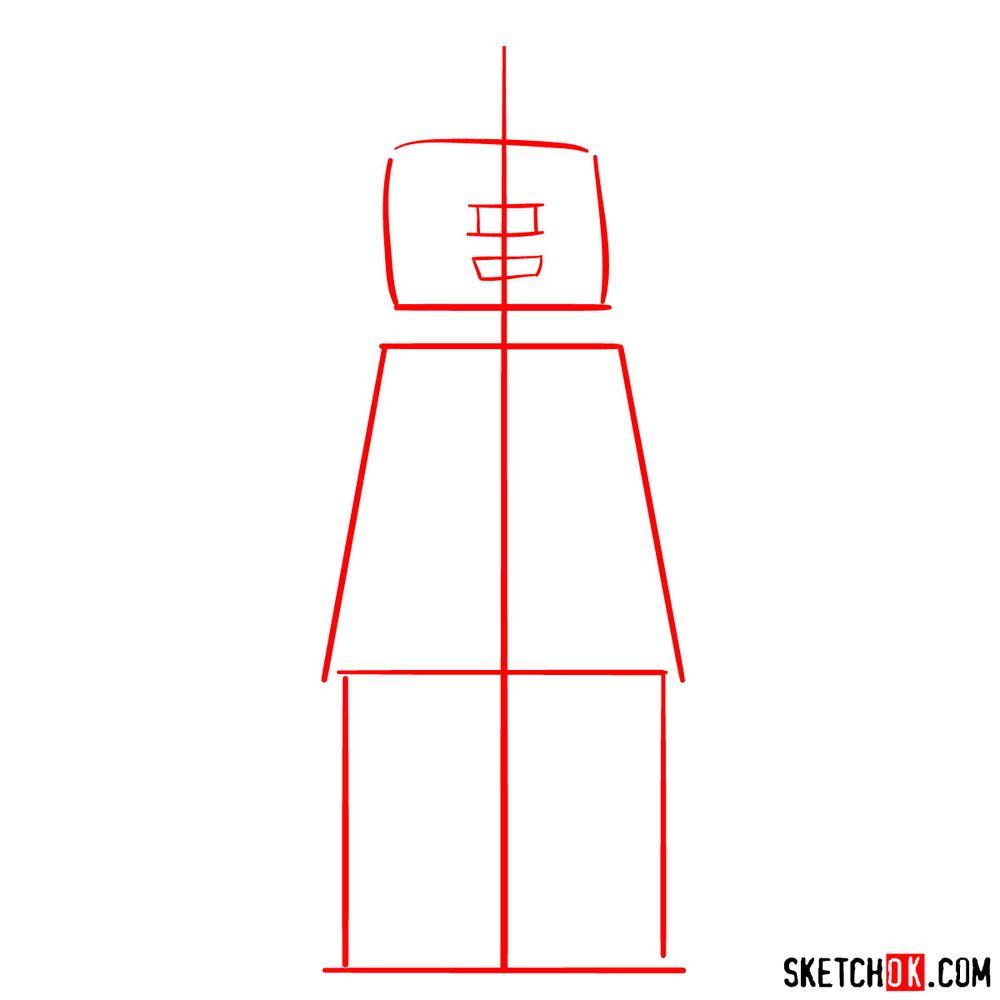 How to draw Superman LEGO minifigure - step 01