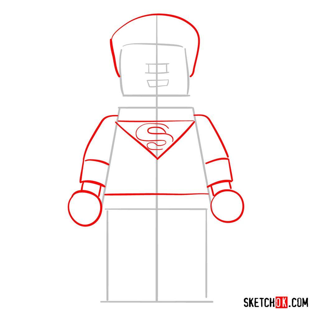 How to draw Superman LEGO minifigure - step 02