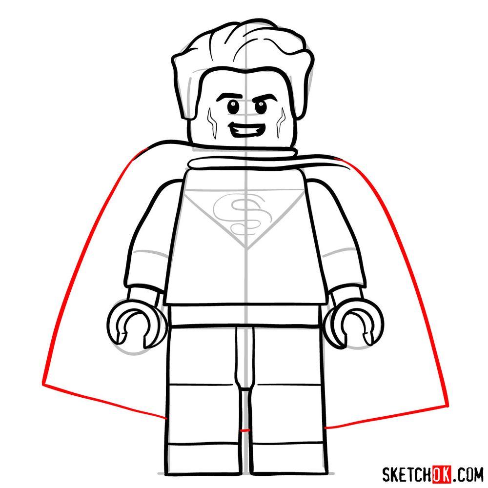 How to draw Superman LEGO minifigure - step 10