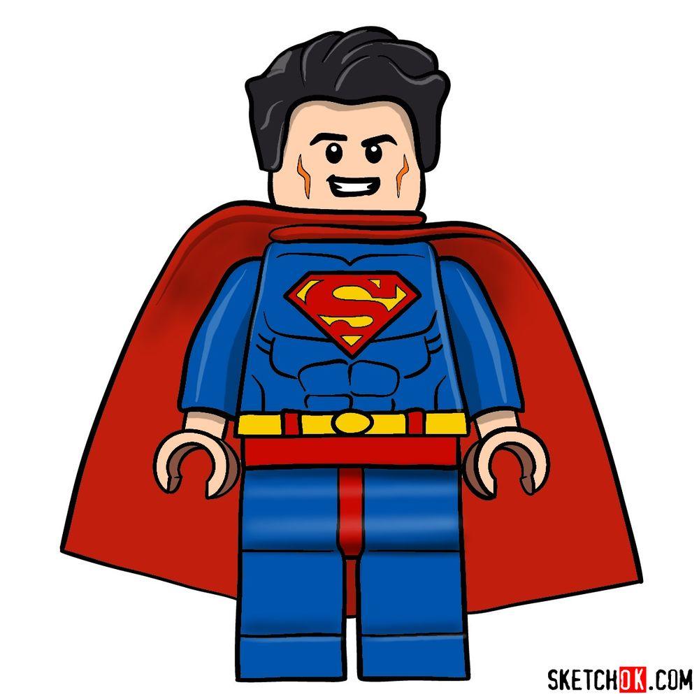 How to draw Superman LEGO minifigure