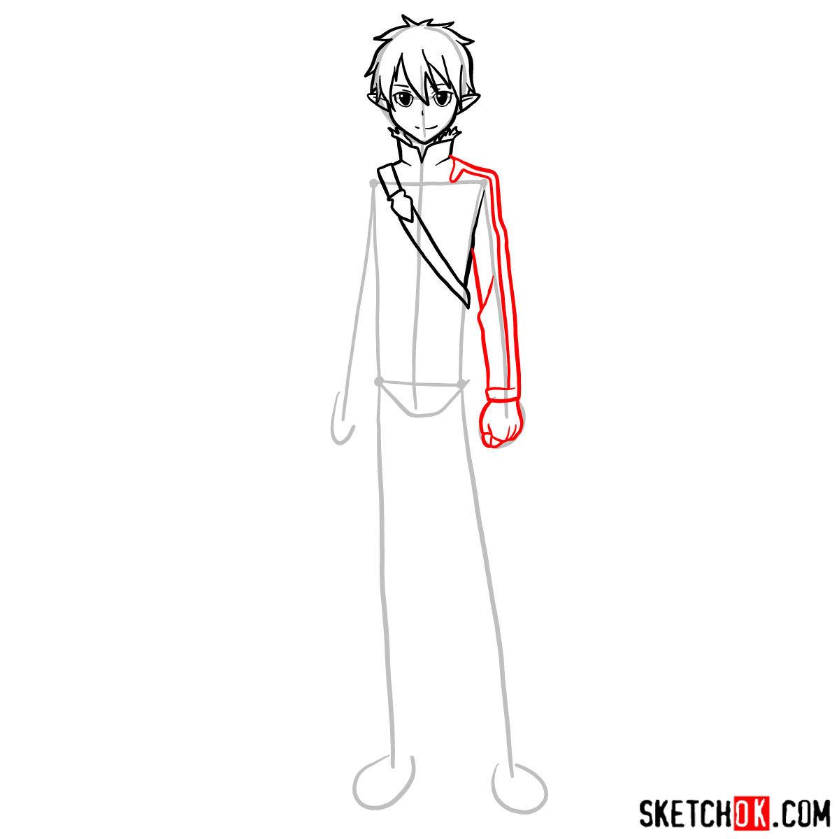 How to draw Kirito (Kirigaya Kazuto) - step 08