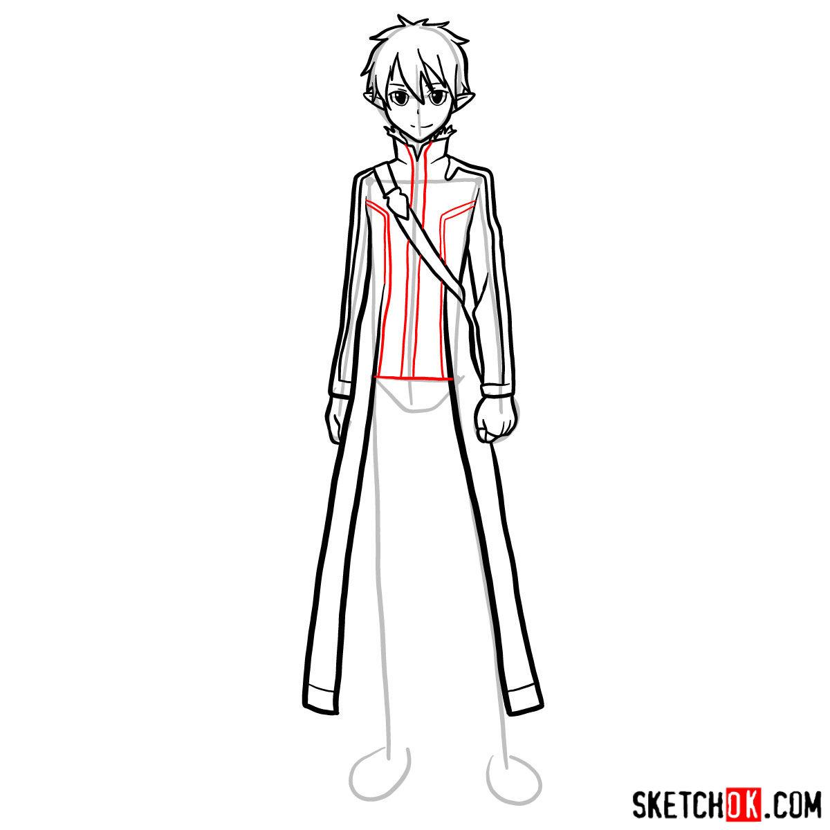 How to draw Kirito (Kirigaya Kazuto) - step 12