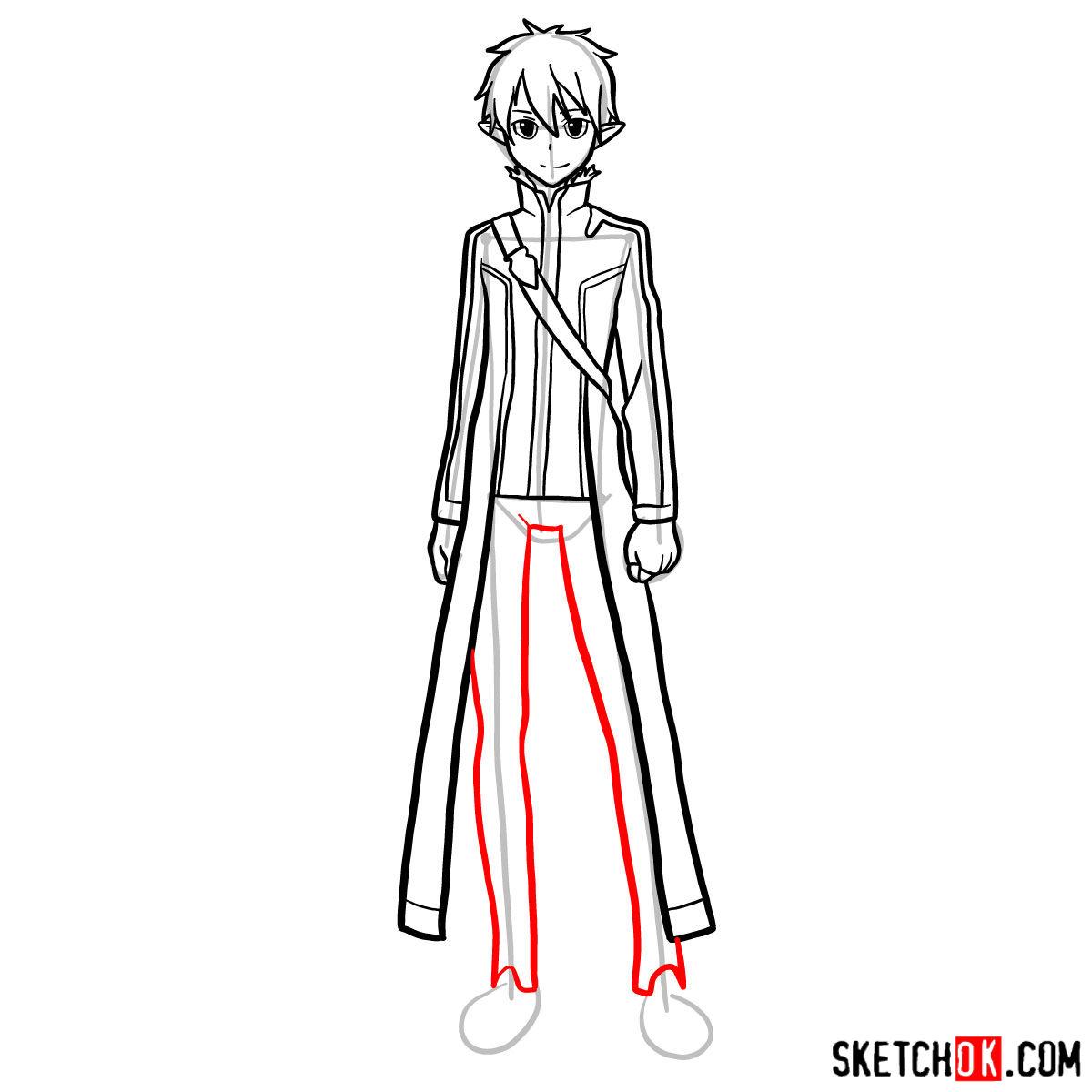 How to draw Kirito (Kirigaya Kazuto) - step 13