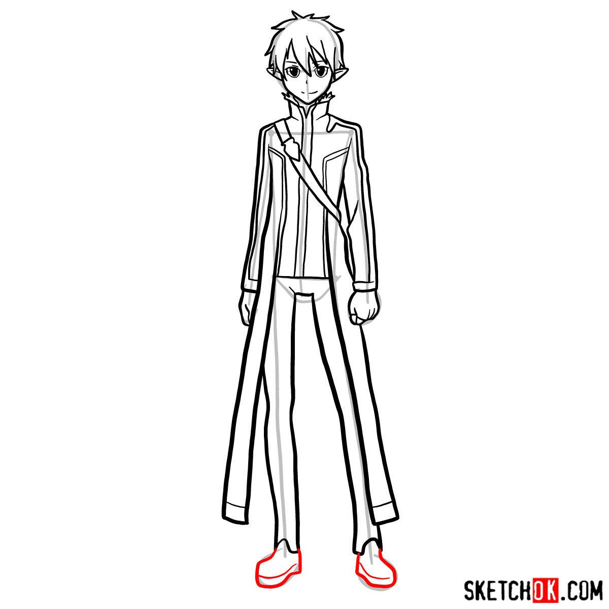 How to draw Kirito (Kirigaya Kazuto) - step 14