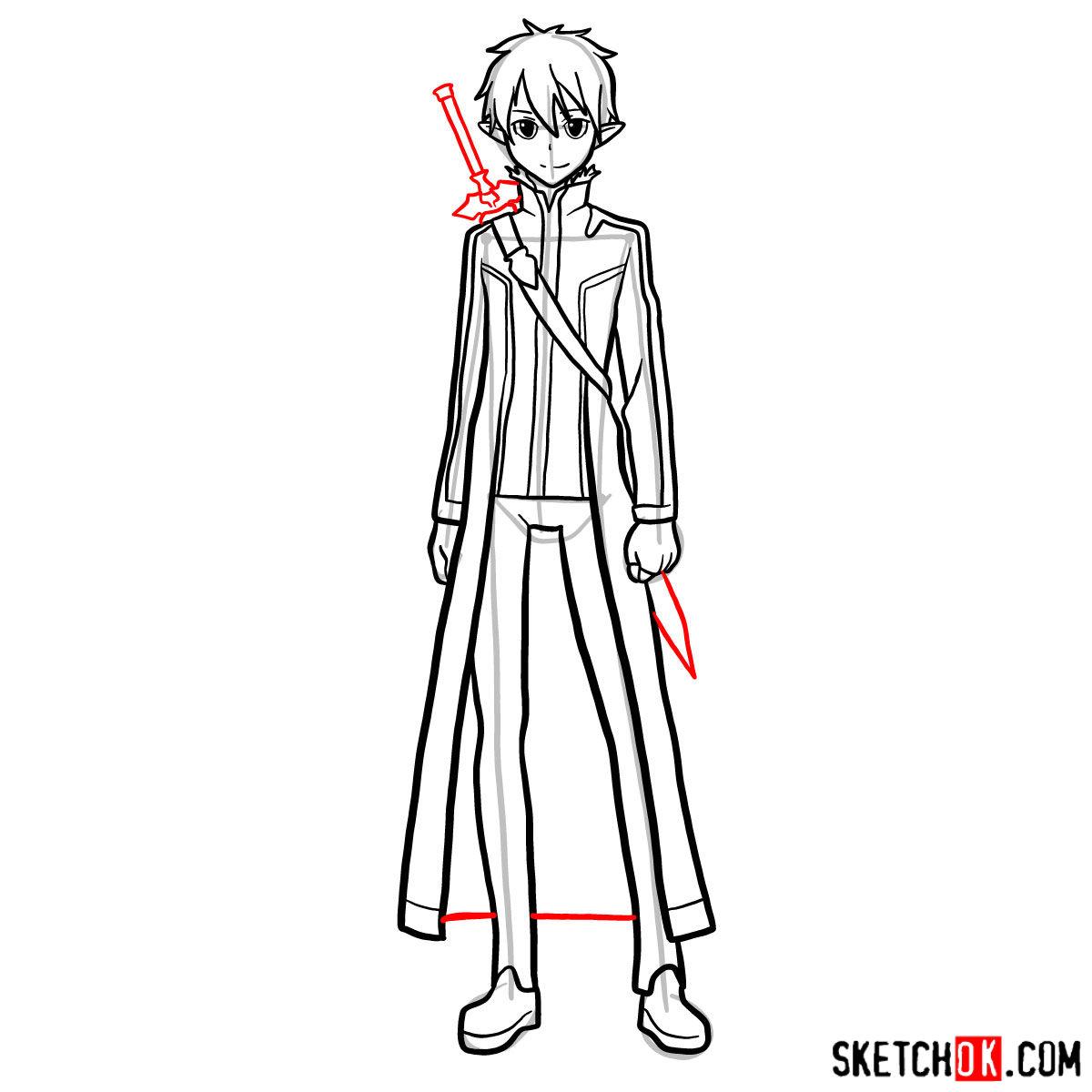How to draw Kirito (Kirigaya Kazuto) - step 15