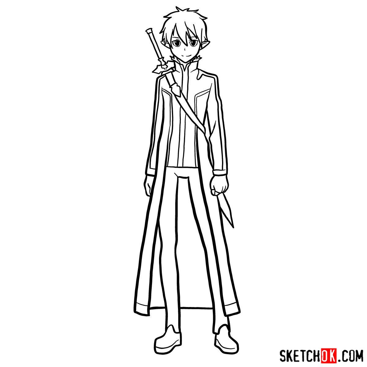 How to draw Kirito (Kirigaya Kazuto) - step 16