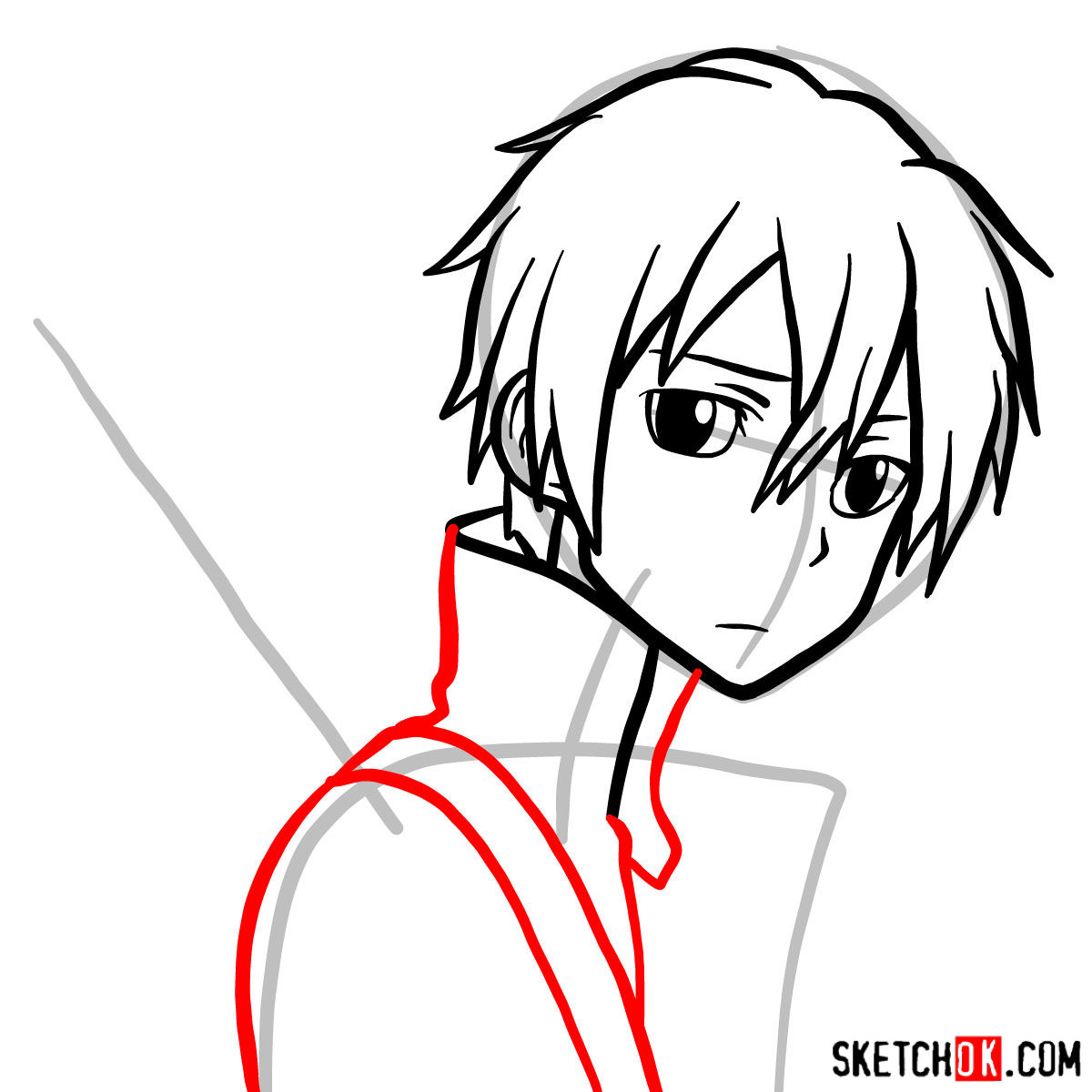 How to draw Kirito's portrait (Sword Art Online) - step 07