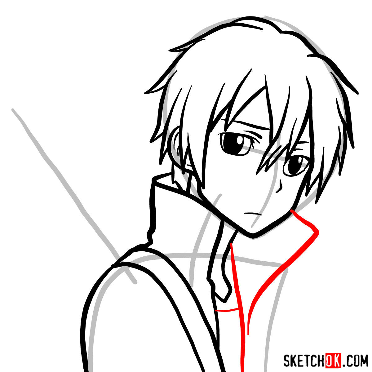 How to draw Kirito's portrait (Sword Art Online) - step 08