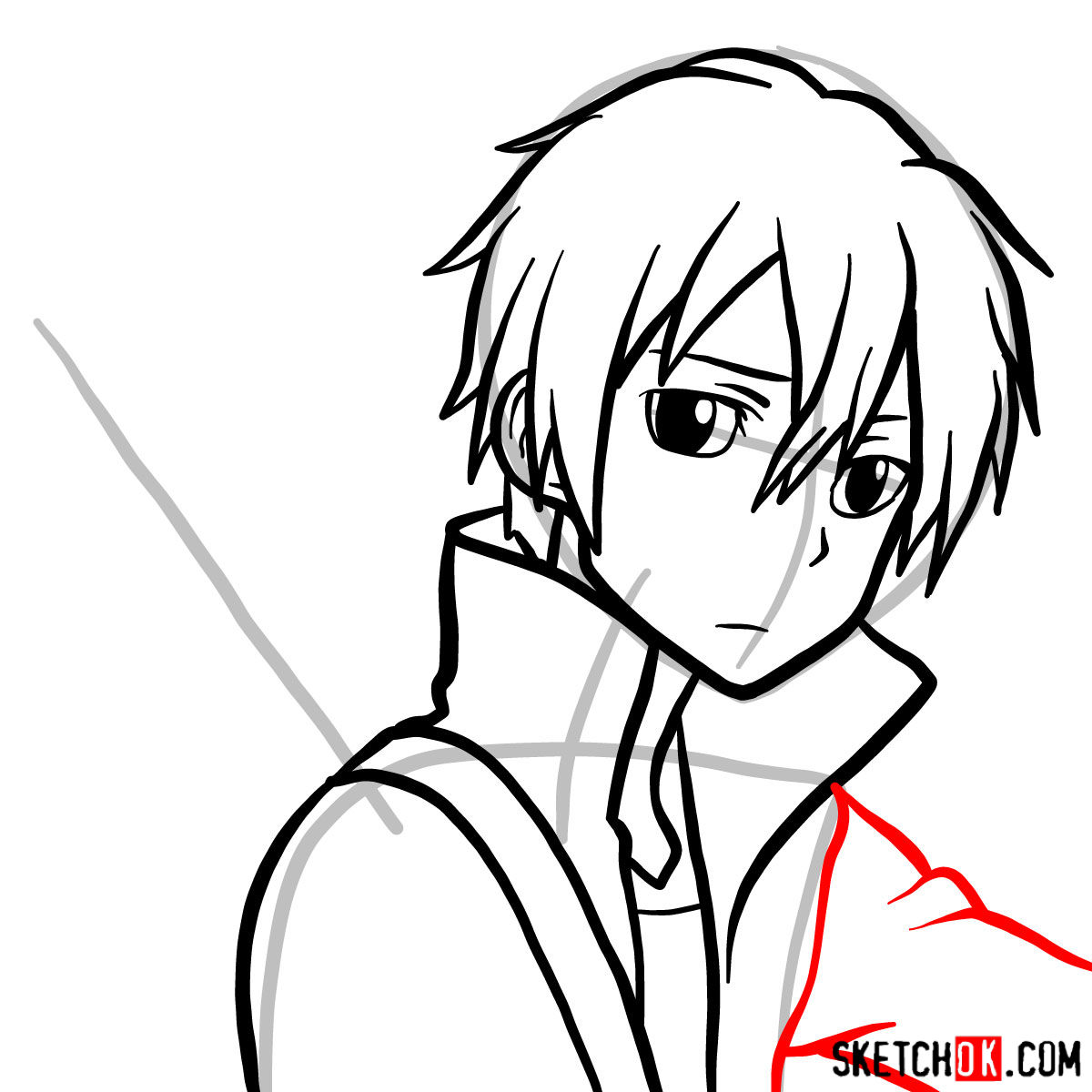 How to draw Kirito's portrait (Sword Art Online) - step 09
