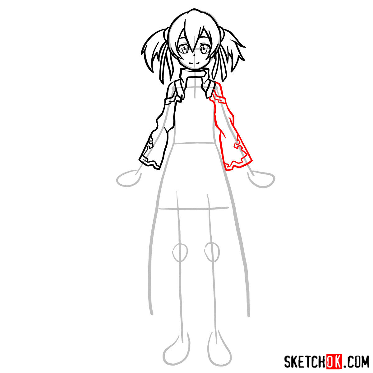 How to draw Silica from Sword Art Online - step 08