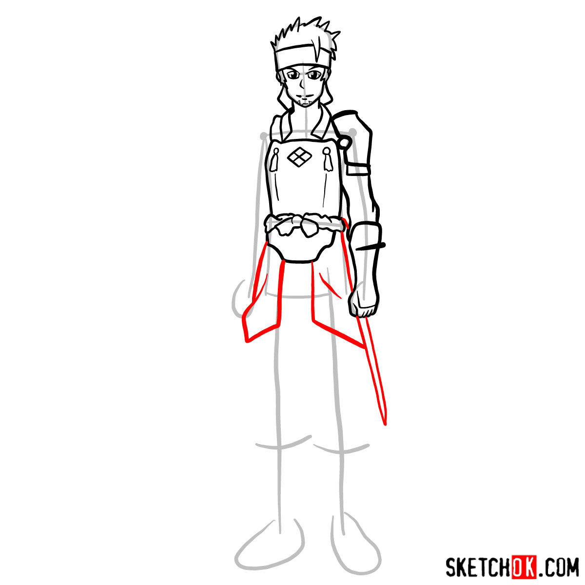How to draw Klein from Sword Art Online - step 10