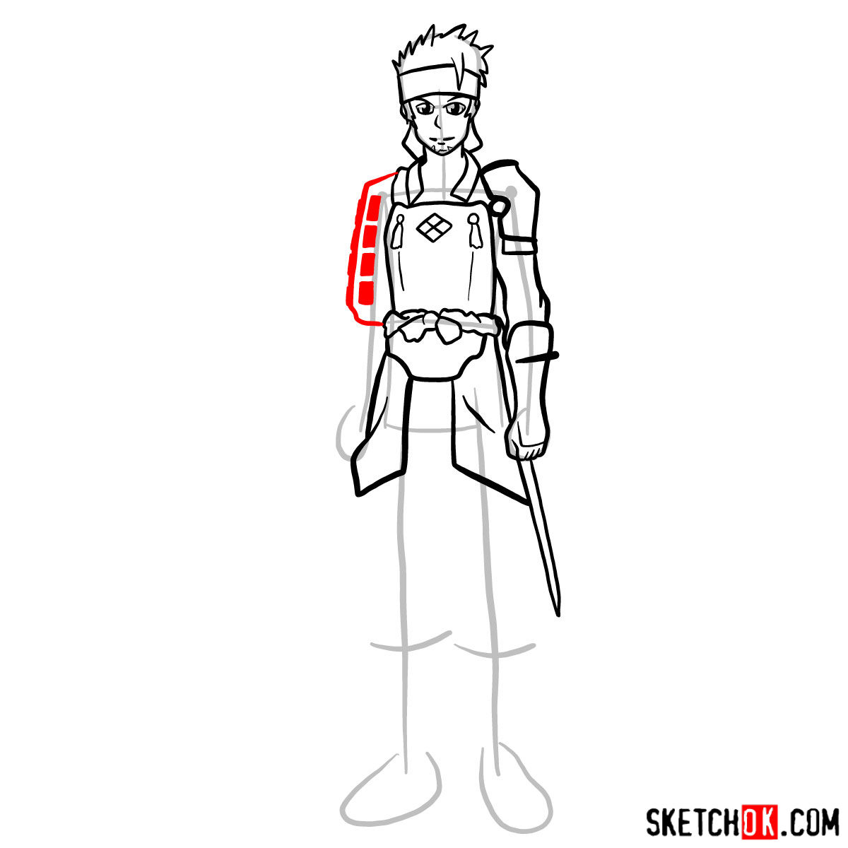 How to draw Klein from Sword Art Online - step 11