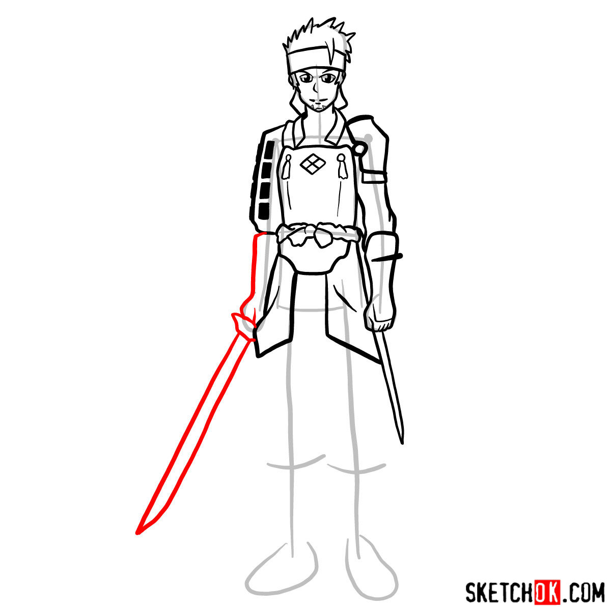 How to draw Klein from Sword Art Online - step 12
