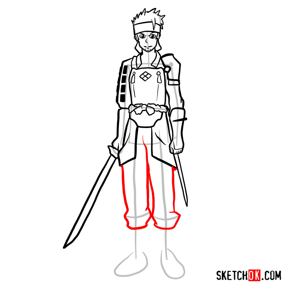 How to draw Klein from Sword Art Online - step 13