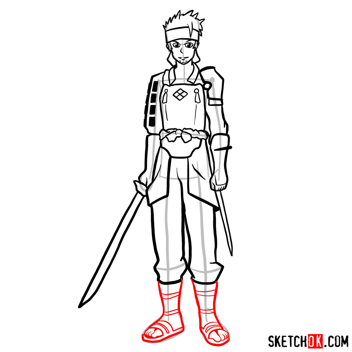How to draw Klein from Sword Art Online - step 14