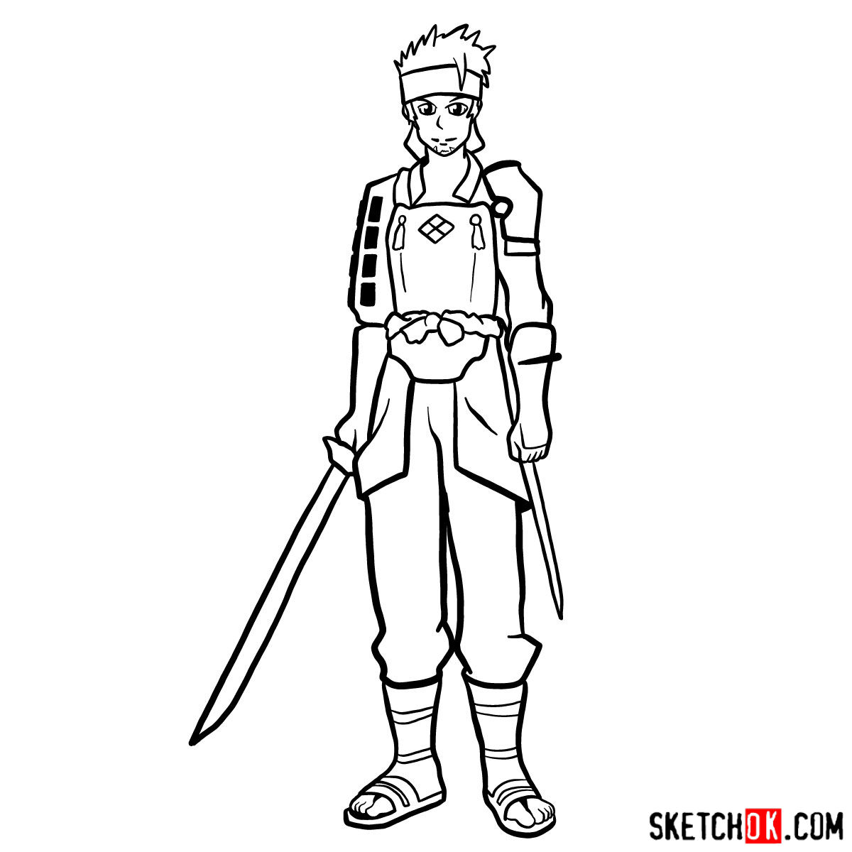 How to draw Klein from Sword Art Online - step 15