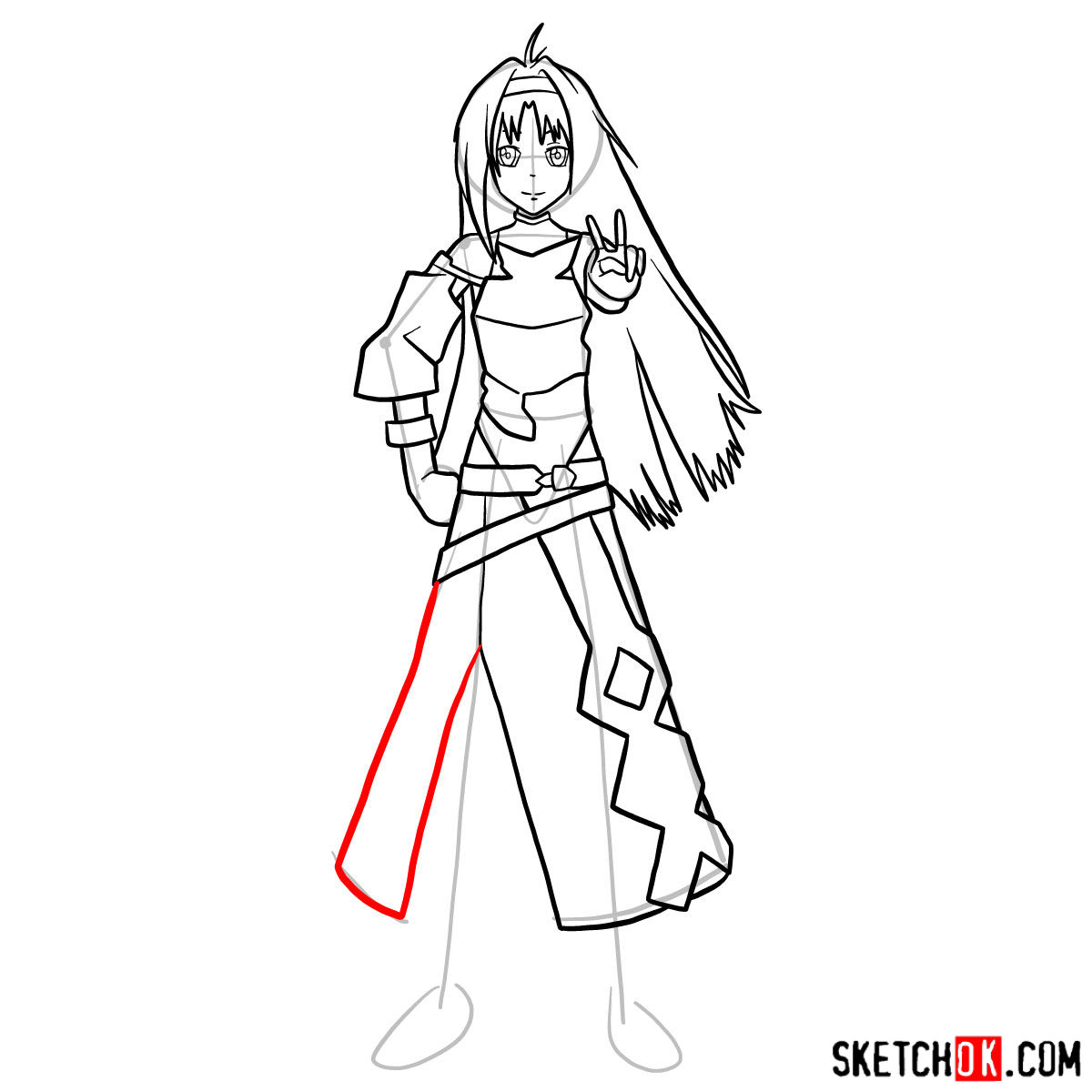 How to draw Yuuki in full growth - step 13