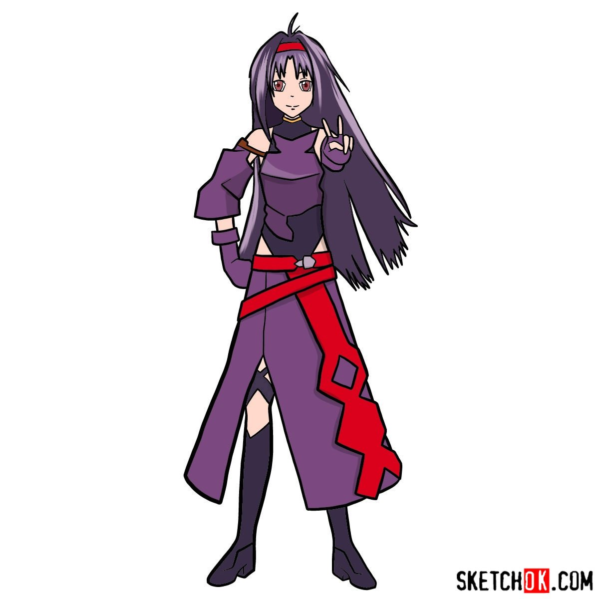 How to draw Yuuki in full growth - coloring
