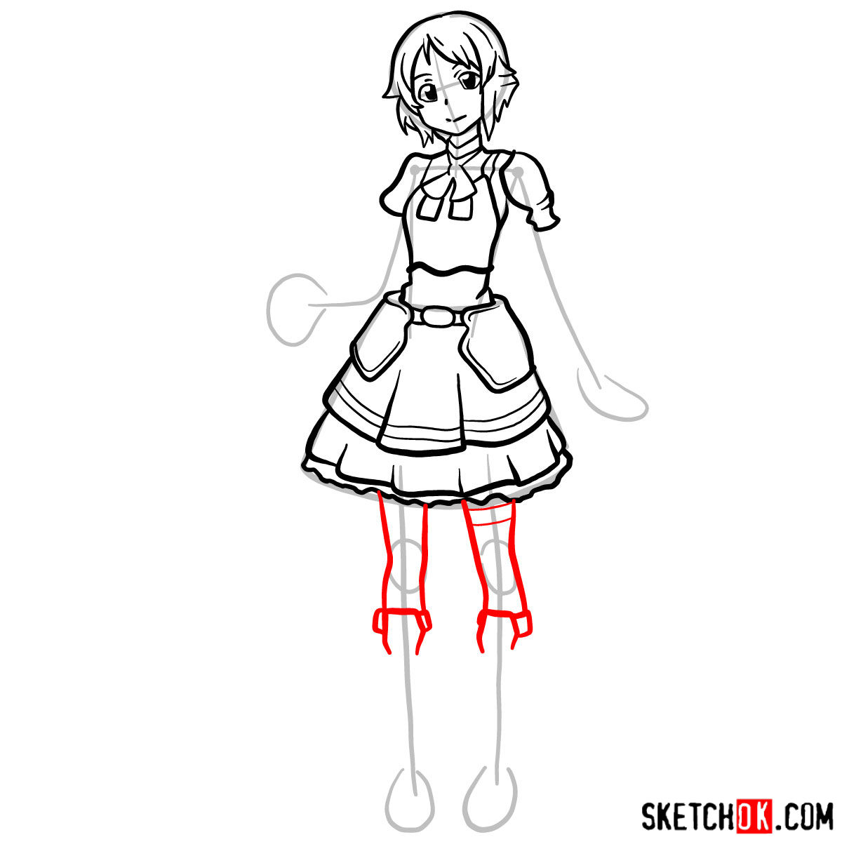 How to draw Lisbeth from Sword Art Online - step 11