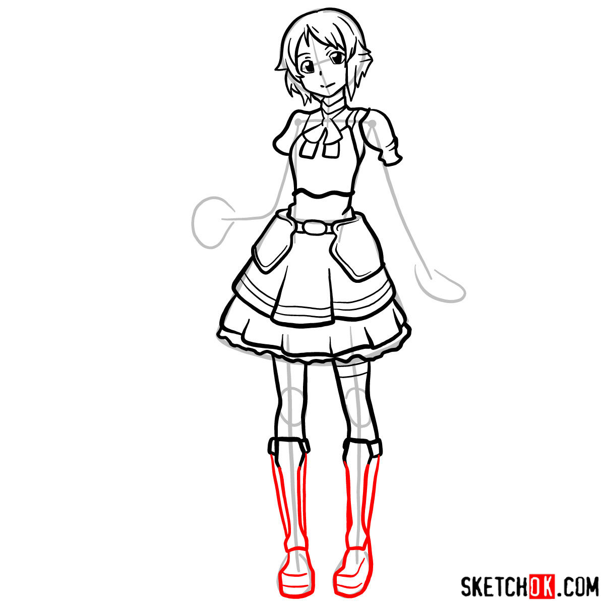 How to draw Lisbeth from Sword Art Online - step 12